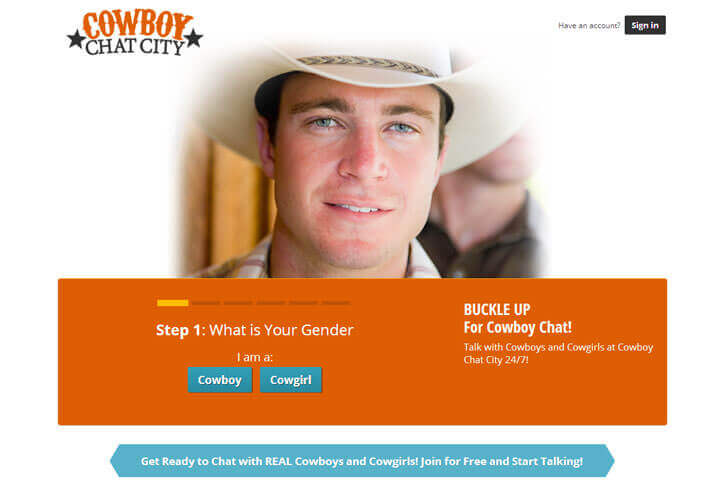 Cowboy Chat City homepage
