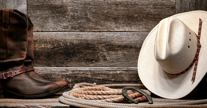 Cowboy Singles traditional white straw cowboy hat with authentic Western lariat lasso